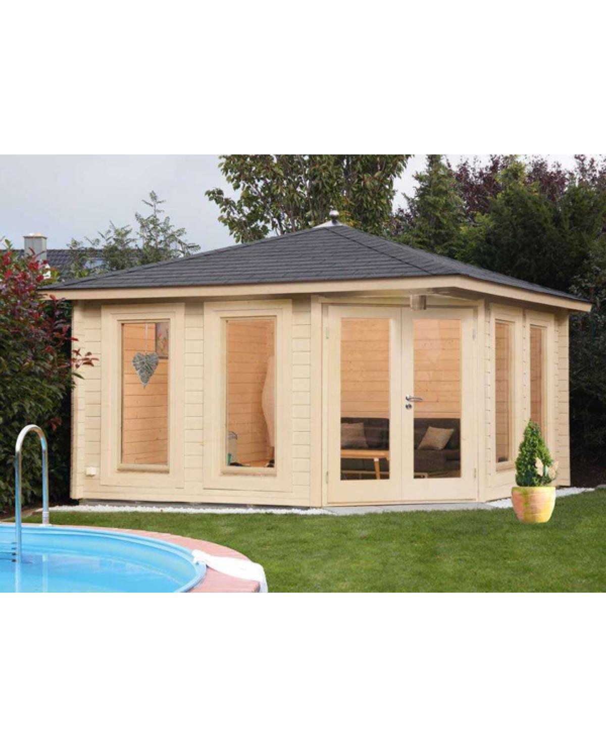 5 Eck Gartenhaus Kira 4040 mit schwarzen RE DS und Dachhaube