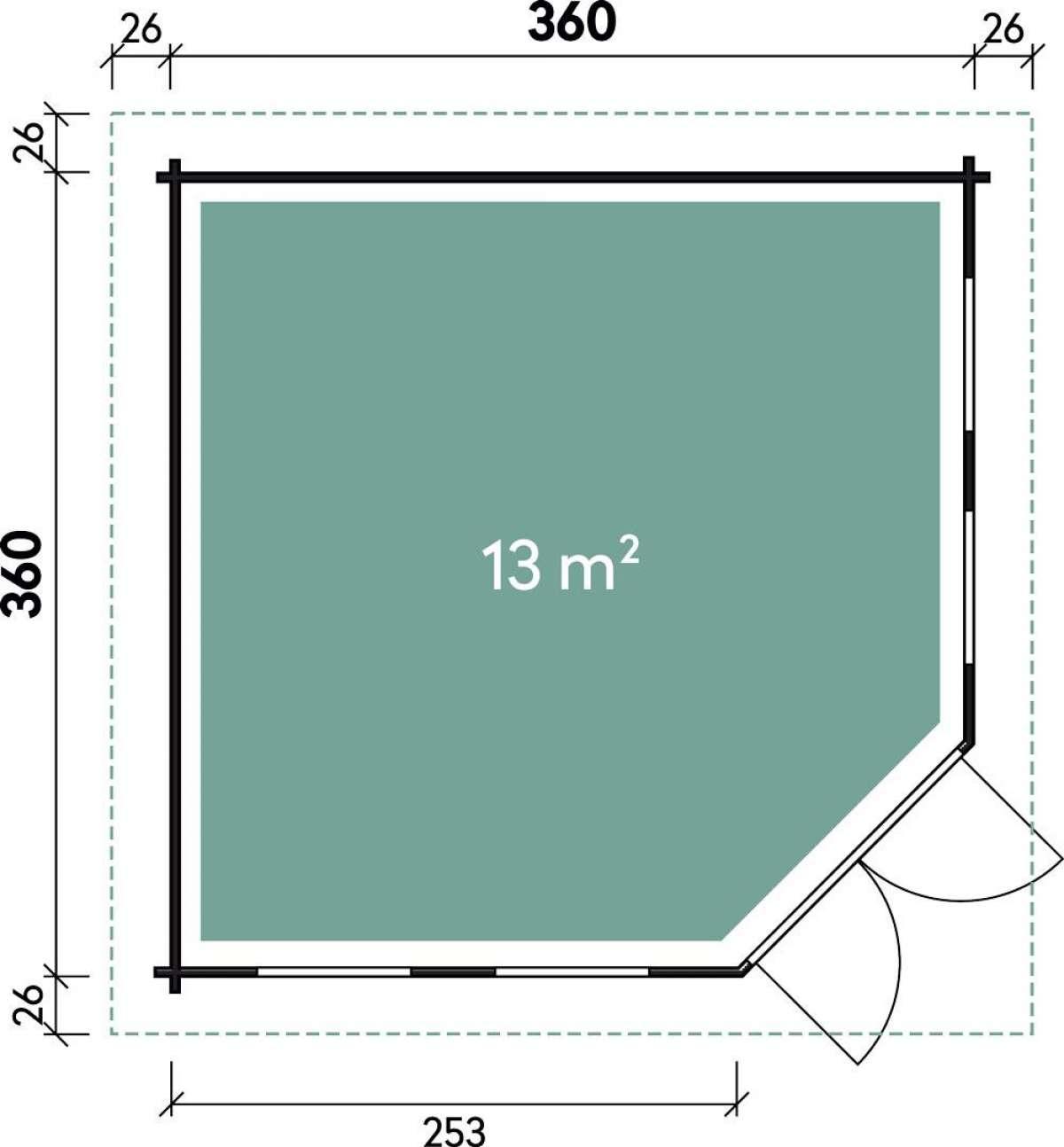 5-Eck-Gartenhaus Kira 3636