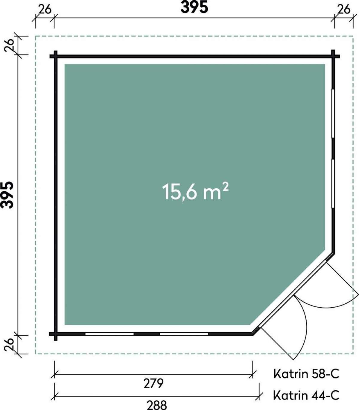 5-Eck-Gartenhaus Kira 4040