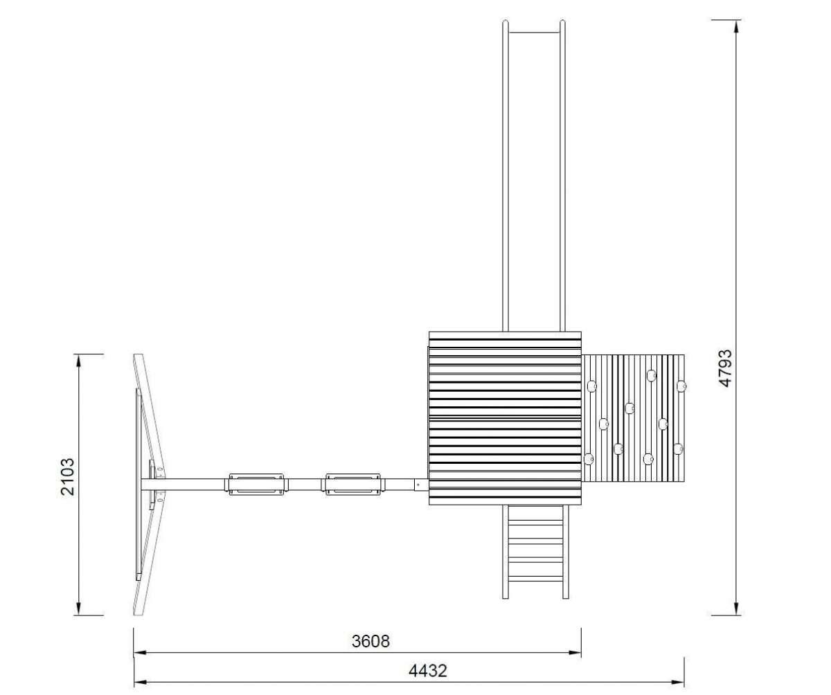 Spielturm Jesper Set 3 - Turm mit Dach + Kletterwand + Schaukel