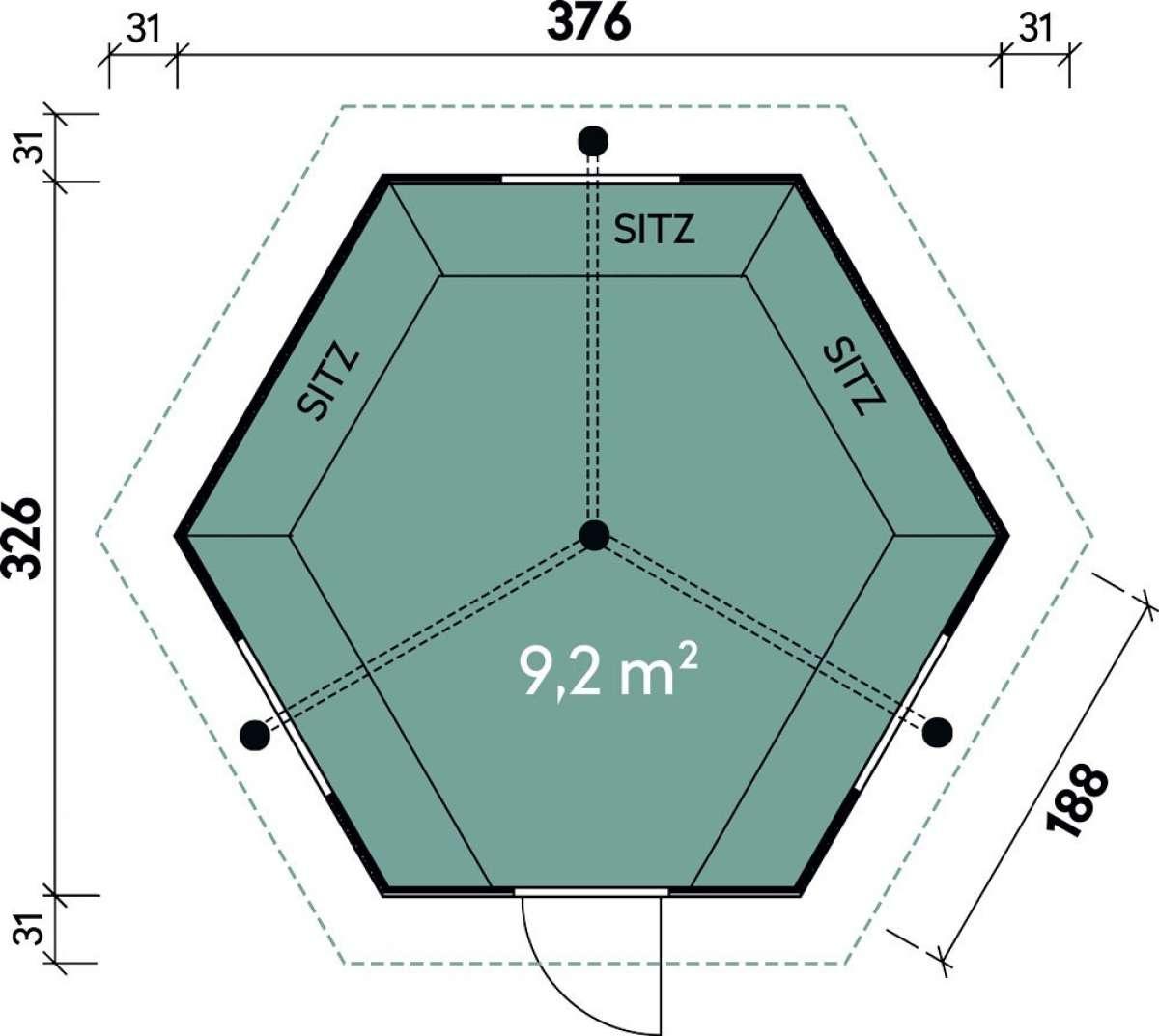 Grillkota Gard 3833 mit roten Dachschindeln