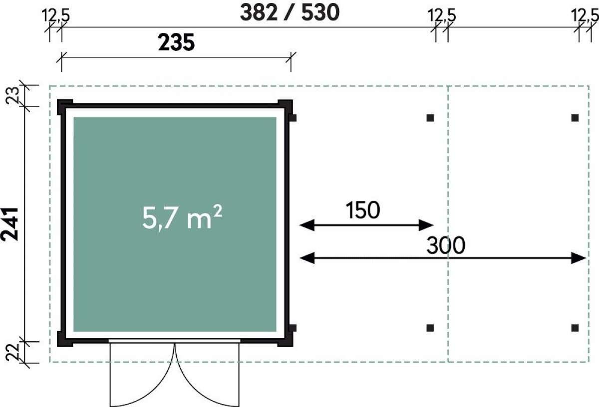 Systemhaus Helena 3824 Natur mit Seitendach 150cm
