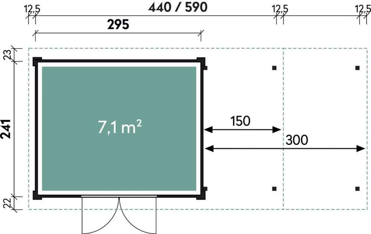 Systemhaus Helena 4424 Natur mit Seitendach 150cm