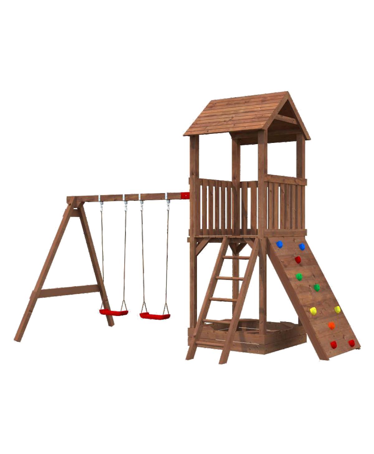 Spielturm Jesper Set 3 Turm mit Dach Kletterwand Schaukel