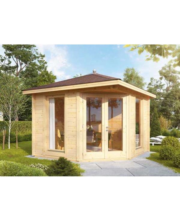 5 Eck Gartenhaus Kira 3030 mit roten RE DS und Dachhaube